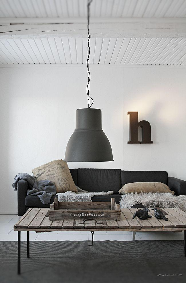 IKEA Industrial Pendant   With Large Black Shade