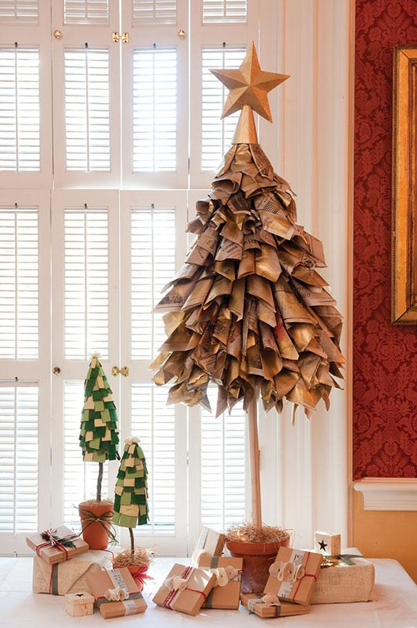 Interesting Christmas tree - made of rolled papers