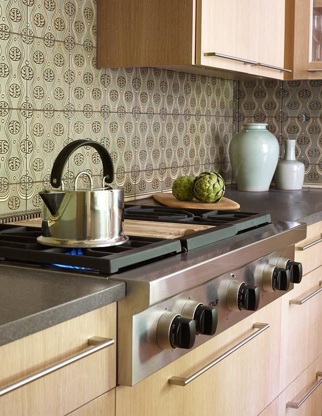 Kitchen backsplash 13 - vintage patterned tiles