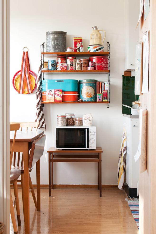 Kitchen decorative boxes - piled on a shelf