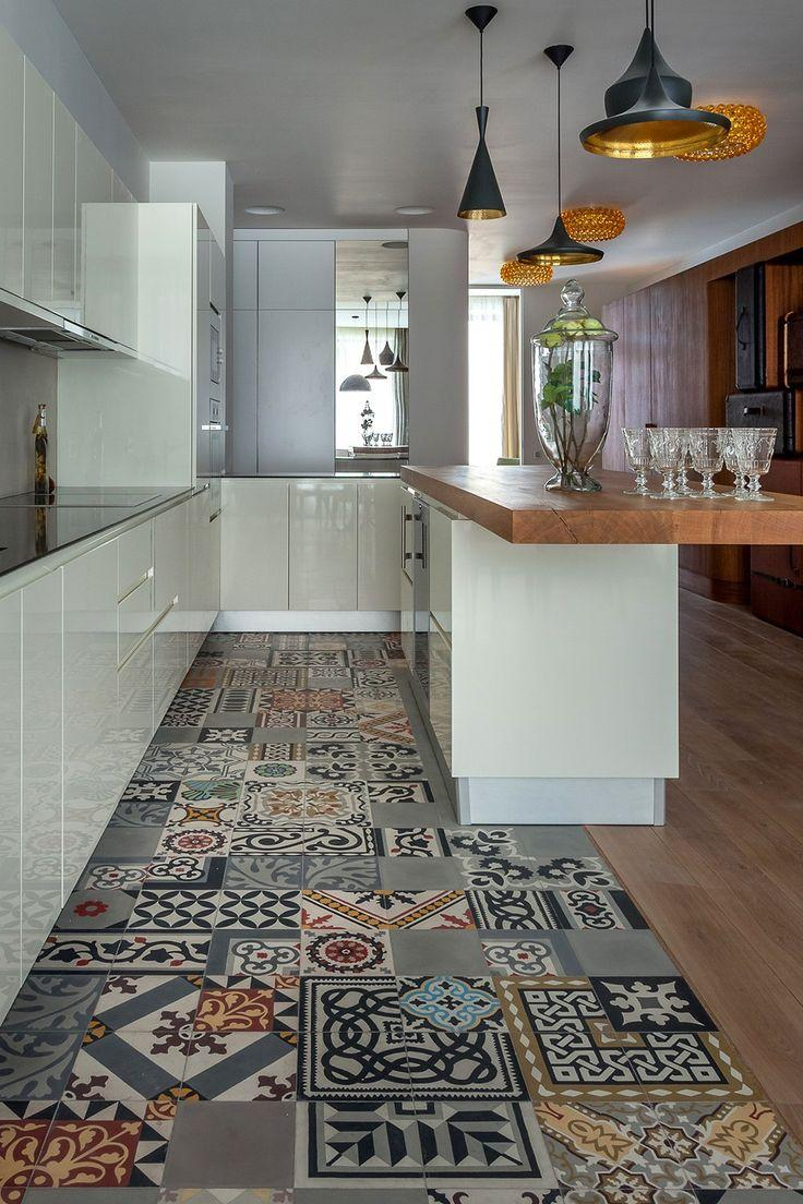 Kitchen floor tile patterns - in various colors