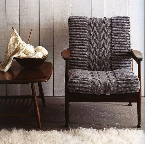 Knitted chair pad - for old chair
