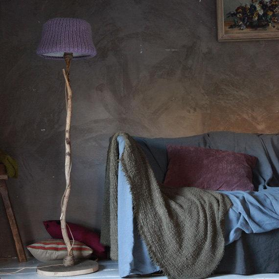 Knitted lamp shade 1 - in a bedroom
