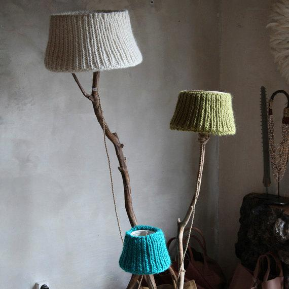 Knitted lamp shade 2 - on a floor lamp