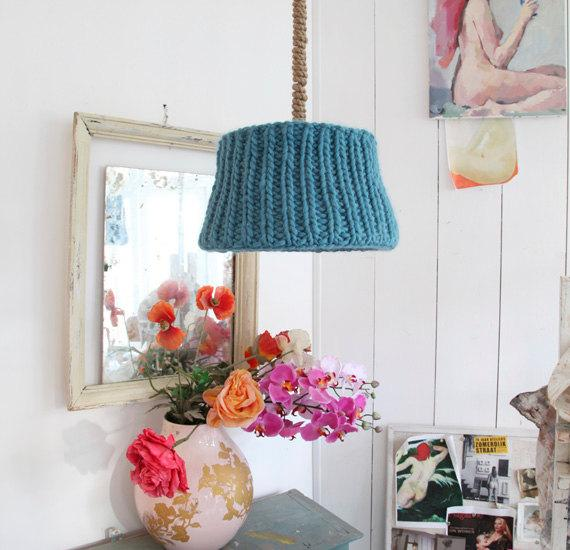 Knitted lamp shade 3 - on a living room pendant
