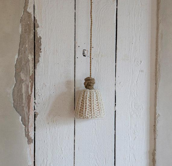 Knitted lamp shade 4 - in a rustic home