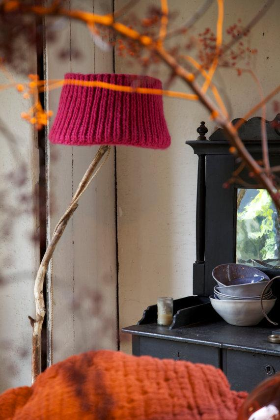 Knitted lamp shade - in vintage home