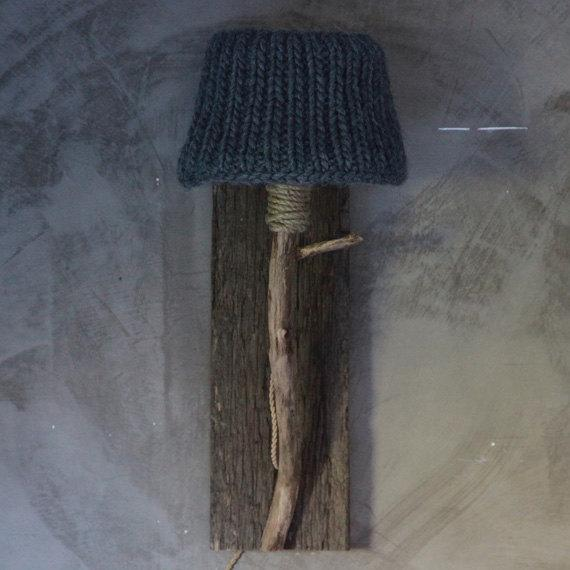 Knitted lamp shade - on bedroom wall