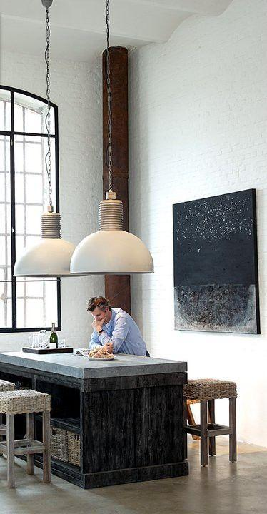 Large white industrial pendants - above the kitchen island
