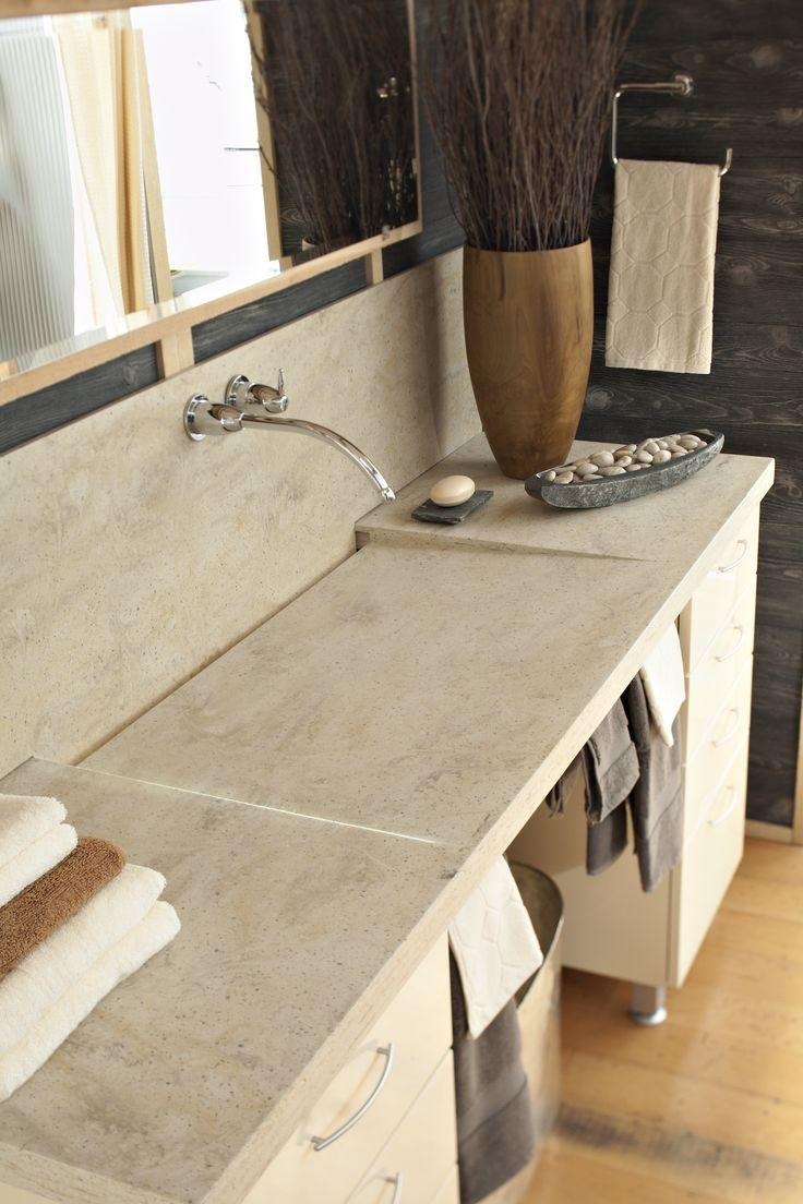 Light Corian countertops - in a small bathroom