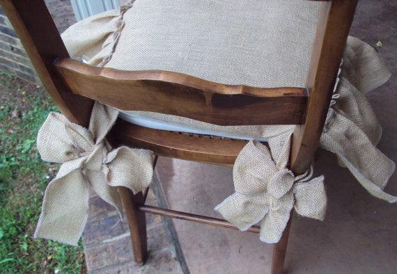 Linen chair pad - on wooden chair