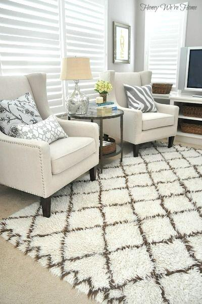 Living room area rug 20 - with white base and brown stripes