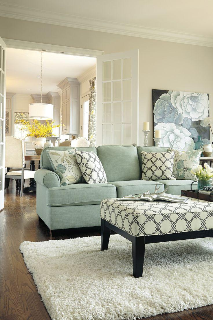 Living room couch 6 - with pale green traditional design
