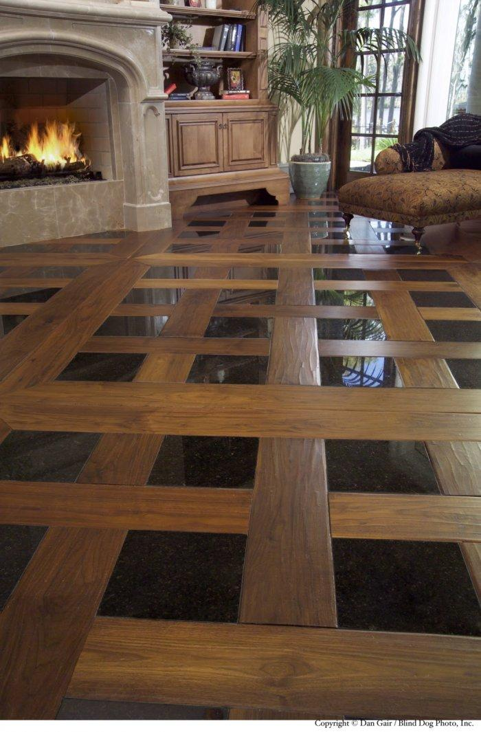 Living room floor tile patterns 3 - with wood and black tiles ...