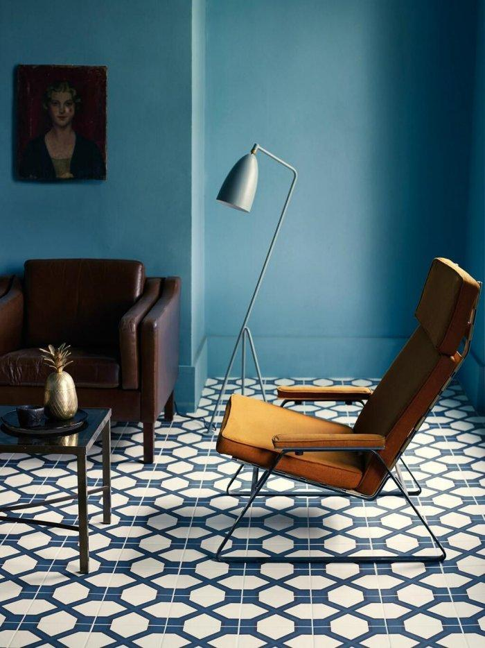 Living room floor tile patterns 5 - white digits on blue base