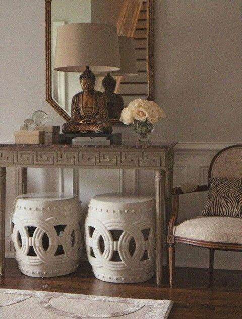 Living room with chinese decoration 2 - budha statue