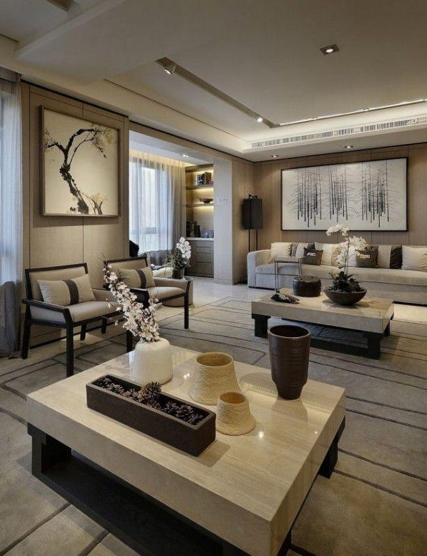 Living room with chinese decoration - white orchid flowers