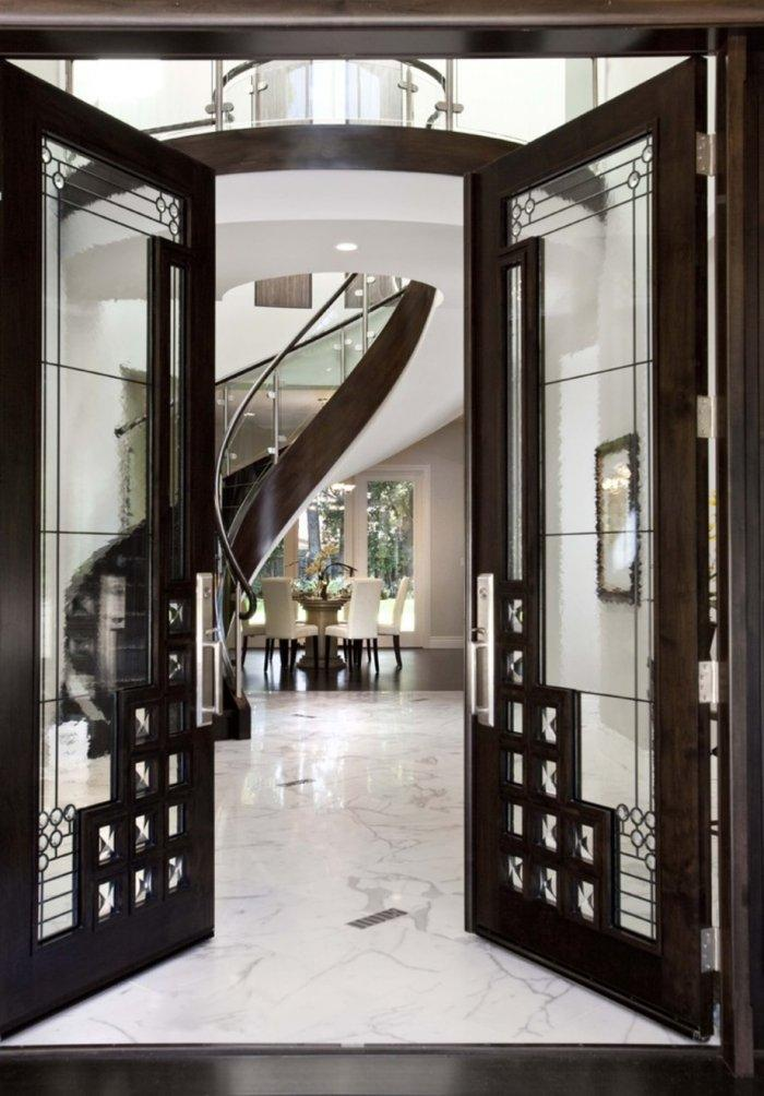 Luxurious glass hallway door - inside an expensive mansion