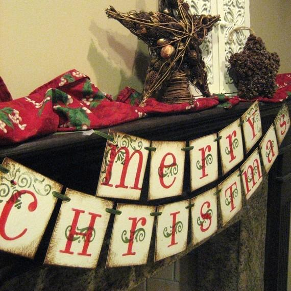 Mantel Christmas garland - with merry christmas writing