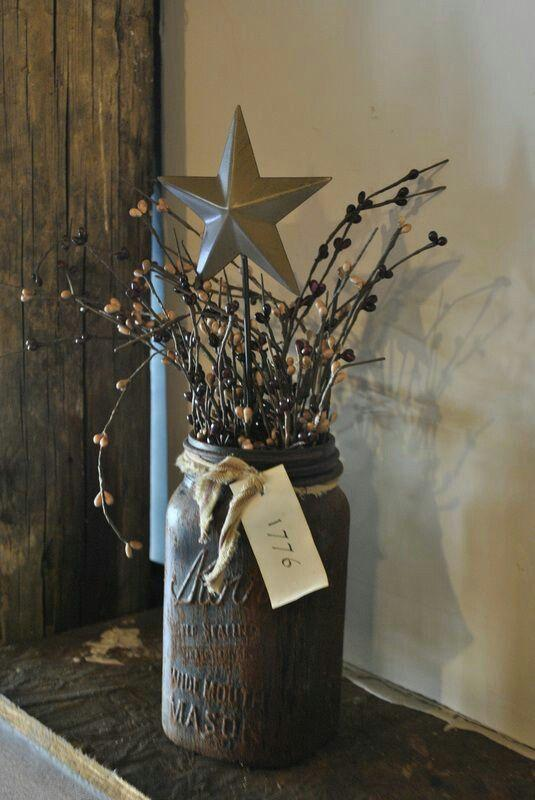 Mason Christmas jar - with branches and paper star