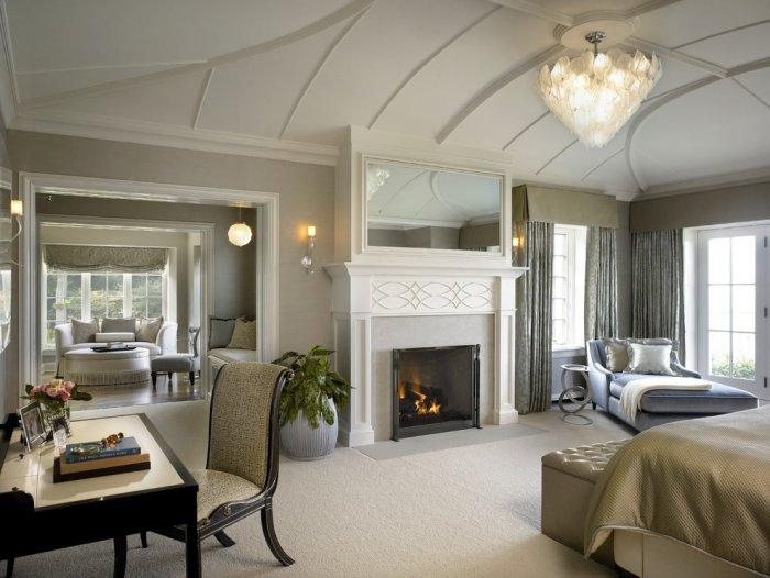 Master bedroom fireplace 3 in modern traditional home for Traditional master bedroom designs