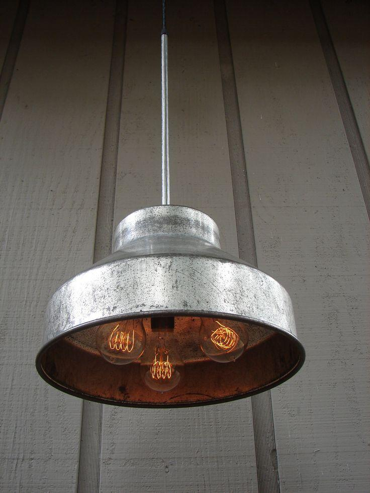 Metal industrial pendant - with vintage bulbs