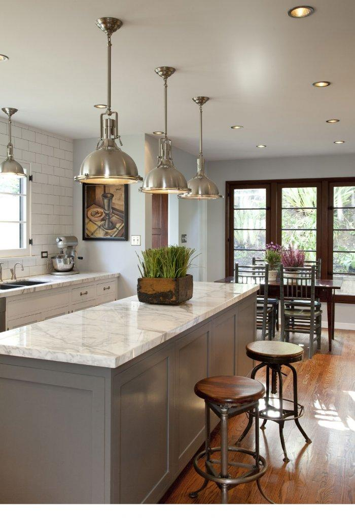 Metal industrial pendants - in traditional white kitchen