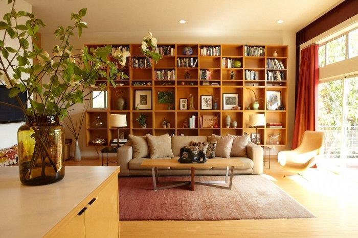 midcentury modern bookcase design with brown shelves
