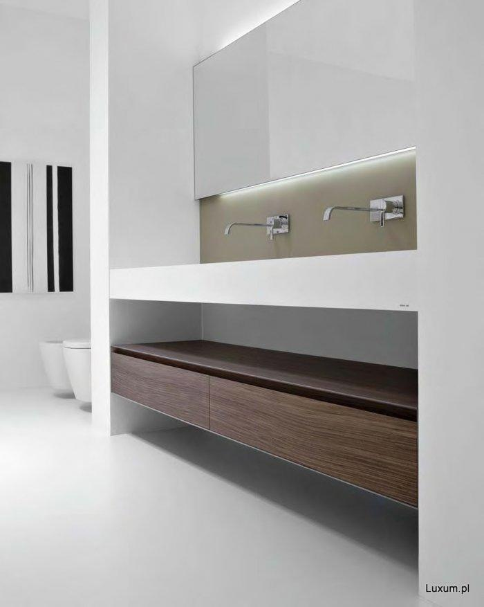 Minimalist bathroom Corian countertops - with stylish clean lines