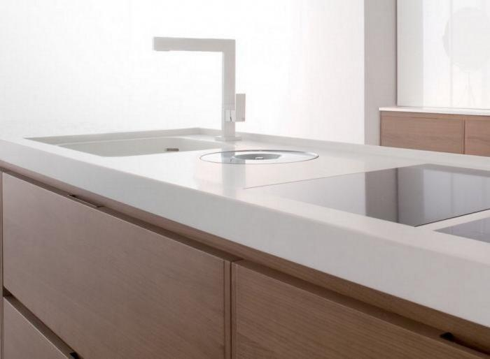 Minimalist kitchen with Corian countertops