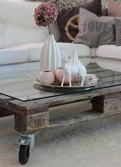 Mobile pallet table - with glass top and decorations
