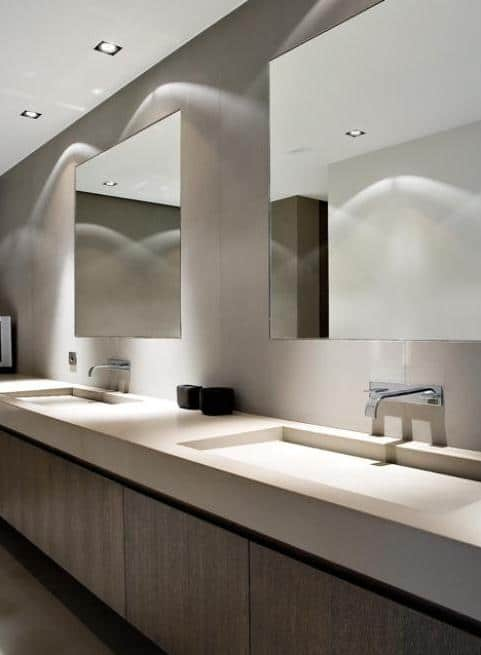 Modern bathroom Corian countertops - inside a large and stylish bathroom