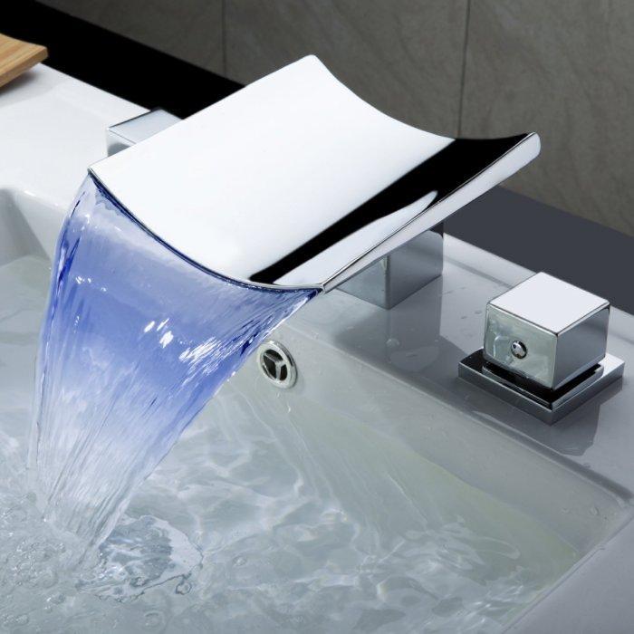 Modern chrome bathroom faucet - with LED lighting