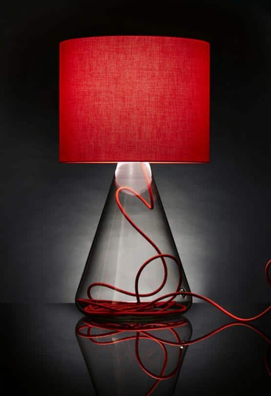 Modern glass lamp shade - for a bedside lamp