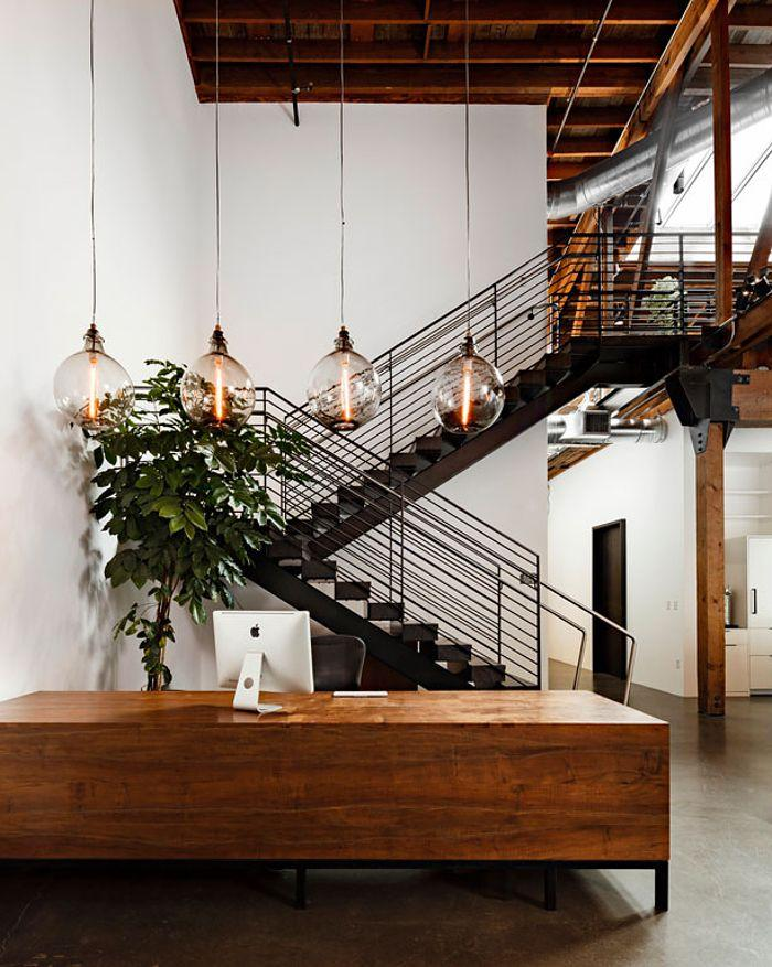 Modern industrial pendant - with four glass bulbs
