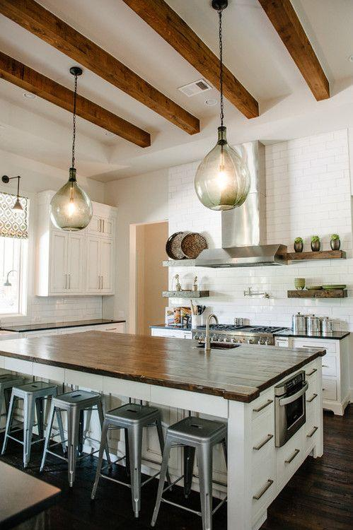 Modern kitchen pendants - with glass shades