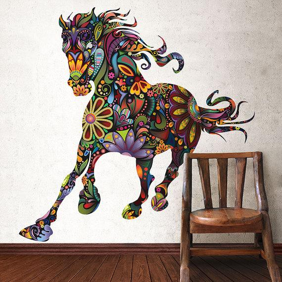 Modern wall asbtract art - psychedelic horse