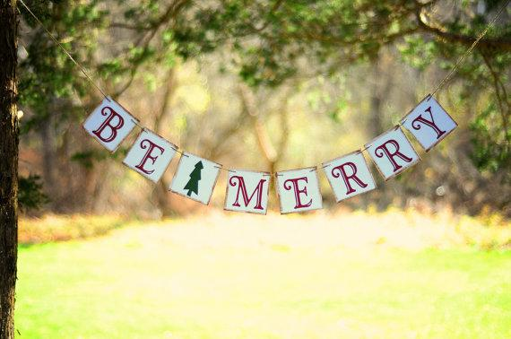 Outdoor Christmas garland - be marry