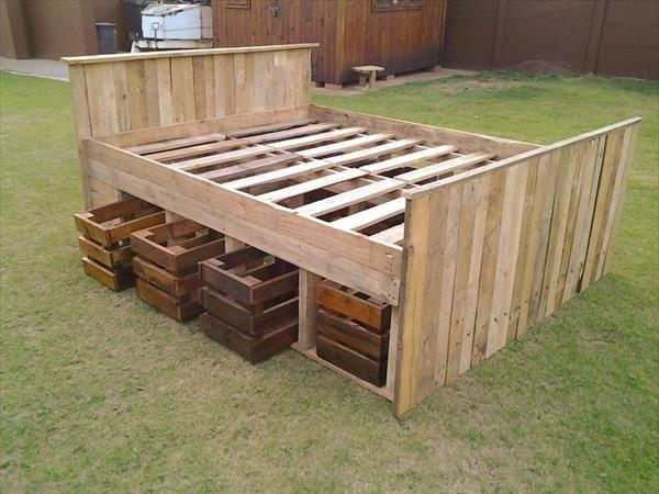 Pallet bed frame 2 - with drawers beneath the base