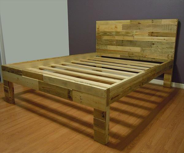pallet bed frame 3 in natural wood color