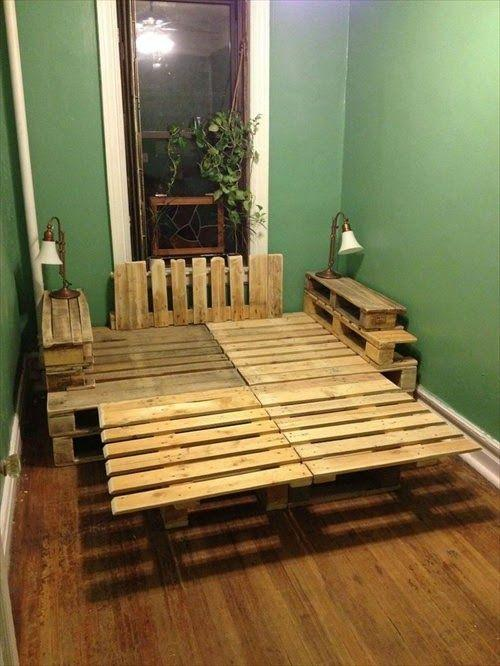 Pallet bed frame - made of four parts