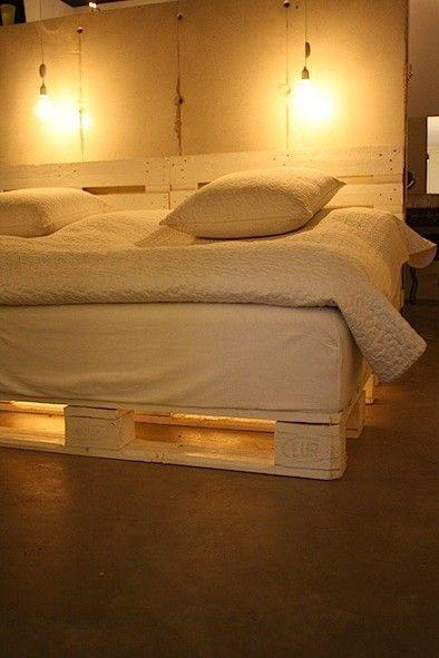 Pallet bed lights 1 - under a white bed
