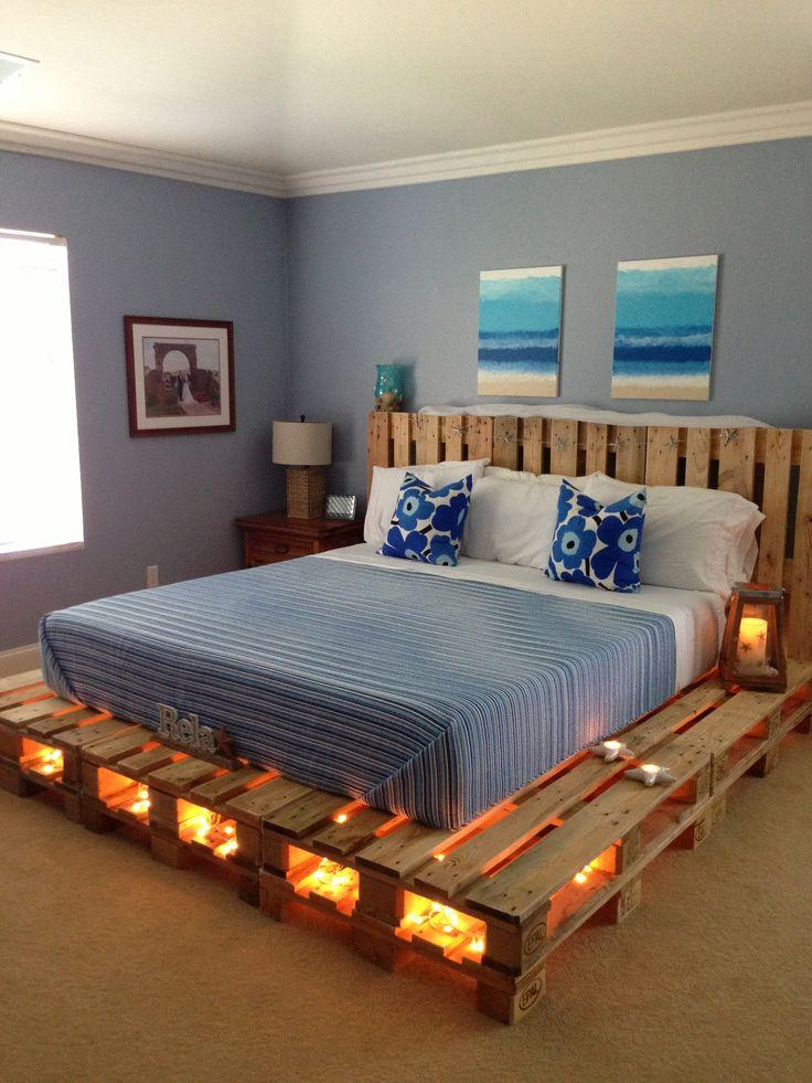 Pallet bed lights 3 - under a raw bed