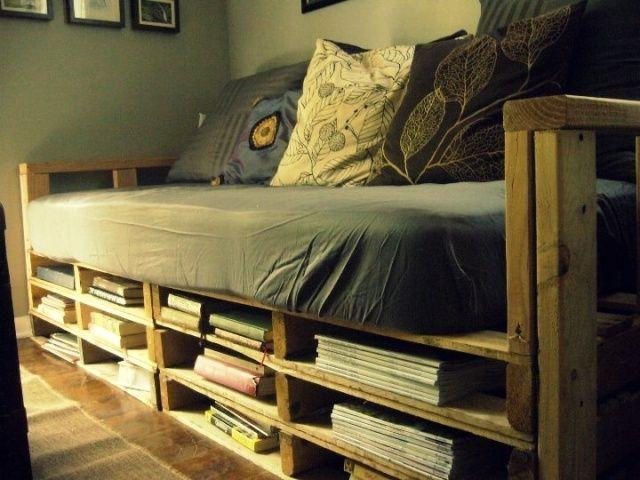 Pallet Bed Storage For Magazines And Books Founterior