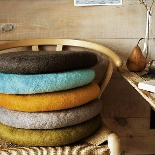 Piled chair pads - in a vintage home