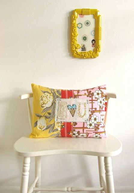 Pillow cover design 12 - with textile applications