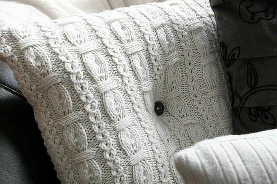 Pillow cover design 13 - with knitted pattern