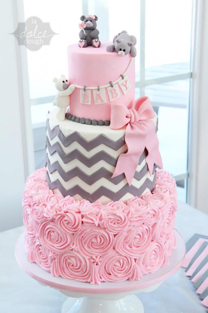 Pink baby shower cake - with animals