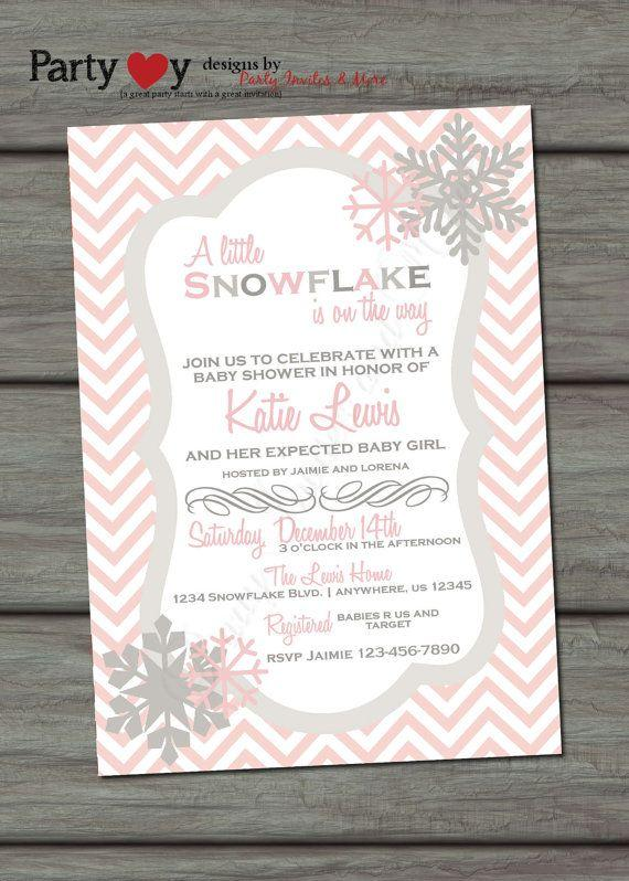 Pink baby shower invitation - a little snowflake