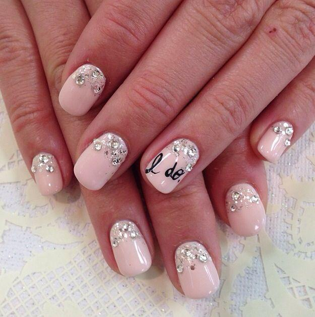 Pink baby shower nails - with crystals